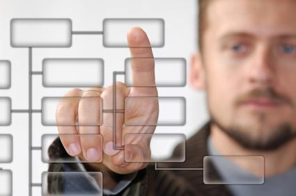 A businessman showing virtual keyboard